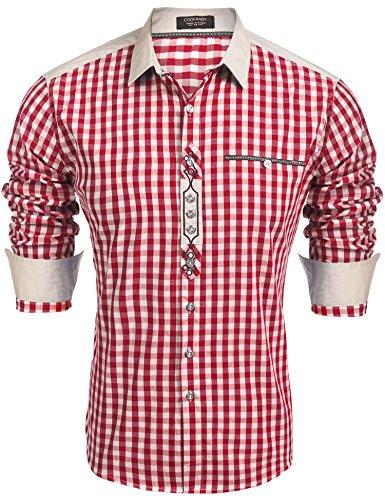 Coofandy Trachtenhemd Herren Hemd Kariert Oktoberfest Cargohemd Baumwolle Freizeit Hemden Super Qualität- Gr. XL, Winerot