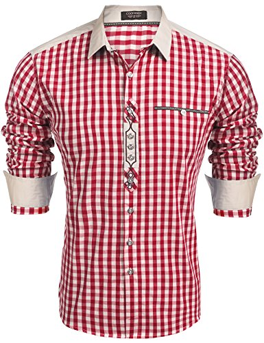 Burlady Trachtenhemd Herren Hemd Kariert Oktoberfest Cargohemd Baumwolle Freizeit Hemden Super Qualität- Gr. XL, Winerot