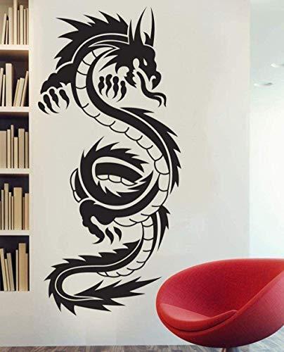 Muurstickers muurschilderingen Decals 45X95cm Tribal Tattoo Klassieke Chinese Draak Decor Art Vinyl Individuele Kunst Plus Grootte 45 * 95cm