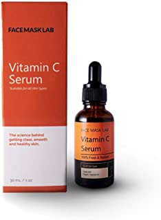 Face Mask Lab - Vitamin C Serum for All Skin Types – Hyaluronic Acid – Vitamin E – Organic Aloe – 1oz / 30ml - Dark Spots ...