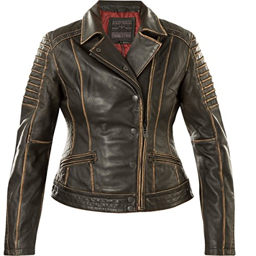 Affliction Damen Lederjacke True Destiny Schwarz, XS