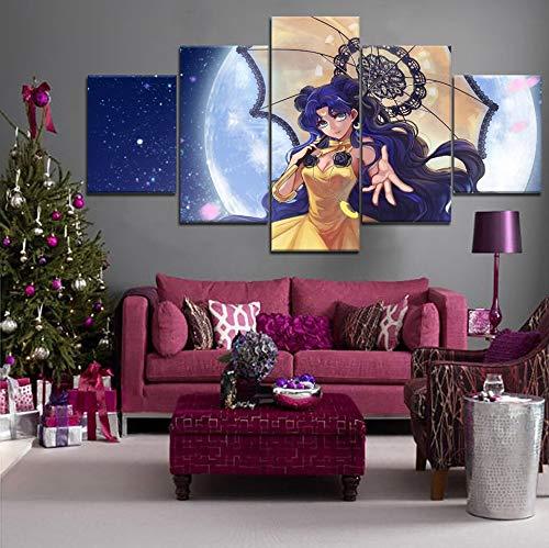 Cartel de impresión Modular 5 Lienzo Mural imágenes Arte de Pared Mujer guerrera como Fondo cabecera Comic decoración del hogar Pintura sin Marco 40x60cmx2 40x80cmx2 40x100cmx1