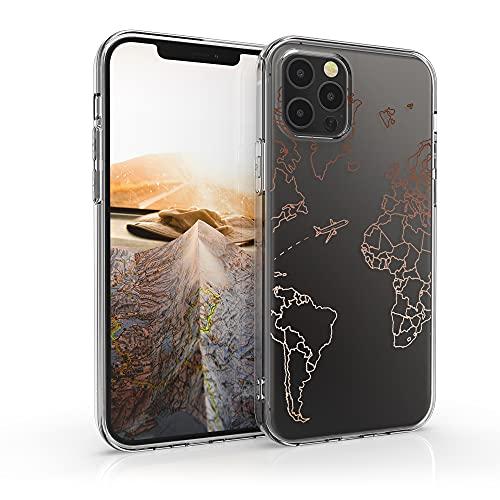 kwmobile Custodia Compatibile con Apple iPhone 12 PRO Max - Cover Silicone TPU - Protezione Posteriore - Travel & Explore Oro Rosa/Trasparente