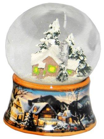 Minium Collection 20082a Schneekugel Winter Hüttenzauber mit Porzellansockel 65mm Diameter