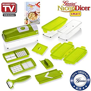 Nicer Dicer Plus Compact by Genius | 13 pieces | Fruit and vegtable slicer | Food-Chopper PRO| Mandoline | Potato, Tomato, Onion, Cheese | Kitchen-Cutter | Food-Dicer | Stainless Steel | As seen on TV