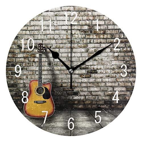 Use7 Wanduhr aus Acryl, Motiv Gitarre, Backsteine, rund, nicht tickend, geräuschlos, für Wohnzimmer, Küche, Schlafzimmer