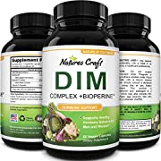 DIM Supplement with BioPerine and Broccoli Extract Natural Hormone Balance Support for Women and Men Non-GMO 150 mg Diindolylmethane Pills by Natures Craft 60 Vegetarian Capsules
