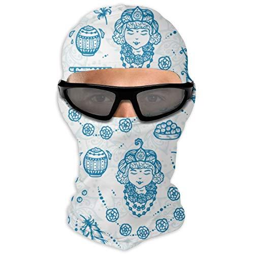 EU Indische Feiertagstöpfe Joghurt, Pfauenfedern, Flöte, Blumenwärmer Winddichte UV-Schutzhalsmanschette Schal Bandana Gesichtsmaske