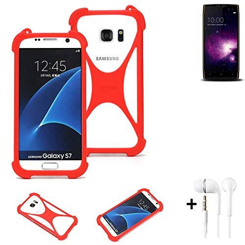 K-S-Trade® Handyhülle + Kopfhörer Für Doogee S50 Schutzhülle Bumper Silikon Schutz Hülle Cover Case Silikoncase Silikonbumper TPU Softcase Smartphone, Rot (1x),