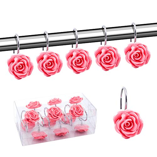 Price comparison product image BEAVO Shower Curtain Hooks,  Home Decorative Rustproof Shower Curtain Hooks Resin Rose Flower Shower Hooks Rings for Bathroom Shower Rods Curtains, Set of 12 Hooks (Pink)
