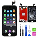Pantalla táctil LCD para iPhone 6s Plus cristal de repuesto 3D con pantalla de visualización con kit de herramientas completo de reparación negro (5,5 pulgadas).