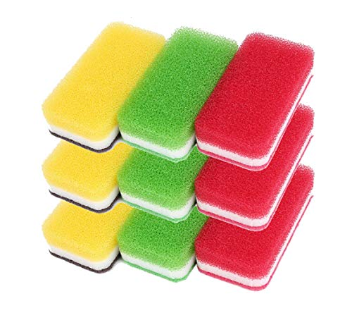 ダスキン スポンジ 抗菌タイプ (台所用) 9個入り 台所キッチンスポンジ キッチン用 油汚れ 長持ち (3色セット抗菌タイプS×3セット)