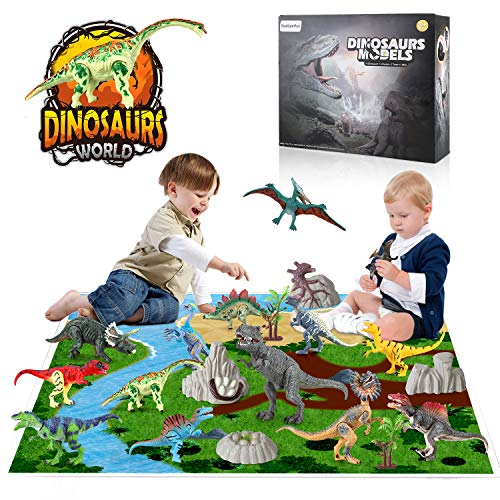 BeebeeRun 21 Pieces Realistic Dinosaur Figures Set with Movable Jaws Included Stone and Plant Fossil and Map Dinosaur Toys Birthday Party Gift for Boys Girls