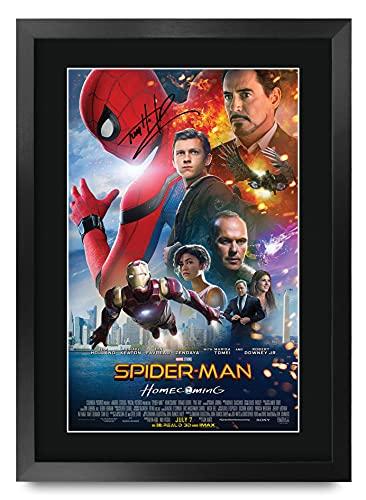 HWC Trading Spiderman A3 Encadré Signé Image Autographe Imprimé Impression Photo Cadeau D'Affichage pour Tom Holland Ventilateurs Affiche du Film