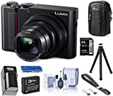 Panasonic Lumix ZS200 4K Digital Camera DC-ZS200K, 15X Leica DC Vario-Elmar Lens, Black, Bundle with Case, Peak Design Wrist Strap, FotoPro UFO 2 Tripod, 64GB SD Card, Battery, Charger, Cleaning Kit