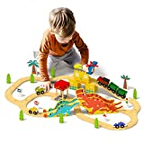 ROBUD Dinosaur Wooden Train Set for Kids & Toddlers, with Dinosaur...