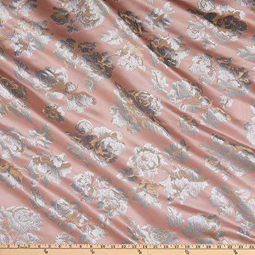 Ben Textiles Flower Brocade, Pink/Silver Yard