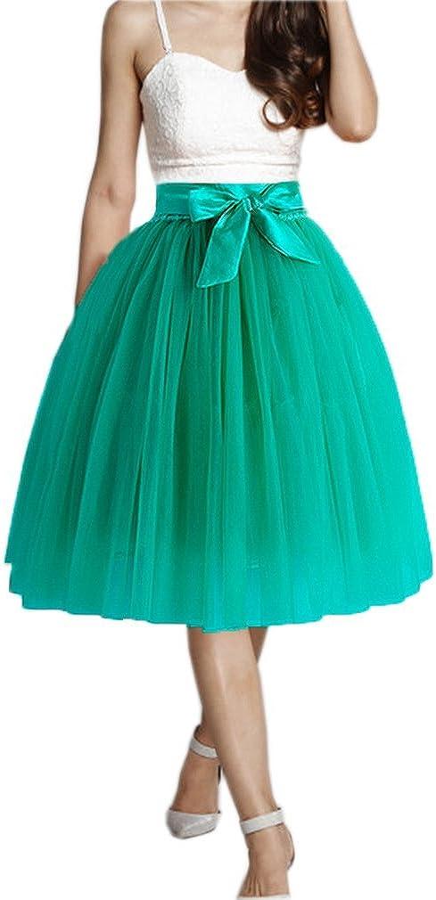 Lisong Knee Length Bowknot Belt Tulle Tutu Prom Skirt for Women