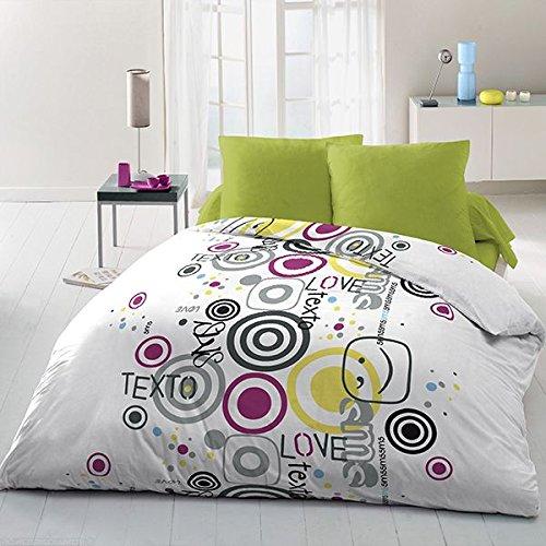 Home Passion Parure de Couette 3 Pièces, Microfibre, Multicolore, 220x240 cm