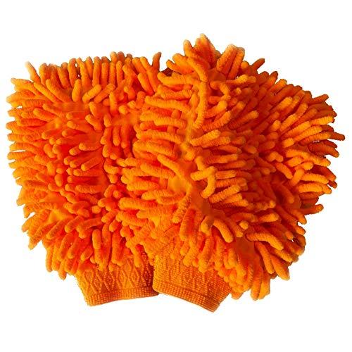 Sunglow Auto Waschhandschuh | 2er Pack | KFZ Profi Pflege Reinigungshandschuh (Orange)