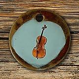 Echtes Kunsthandwerk: Toller Keramik Anhänger mit einem Cello; Geige, Violine, Streichinstrument, Musiker, Geiger, Fidel, Fiedel, Violine