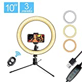 LED 10.2' Desktop Selfie Ring Light with Tripod Stand & Remote Control &10 Brightness Level & 3 Light Modes and 120 Bulbs 5500k for YouTube Video/Live Stream/Makeup/Photography for iPhone Android