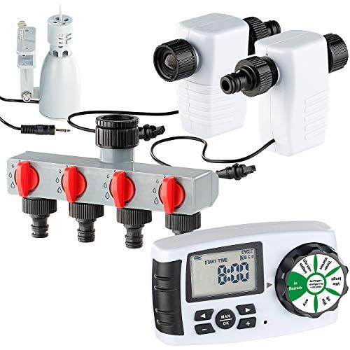 Royal Gardineer Magnetventil: Bewässerungscomputer mit 4-Wege-Verteiler, Regensensor & Magnet-Ventil (Bewässerungsadapter)