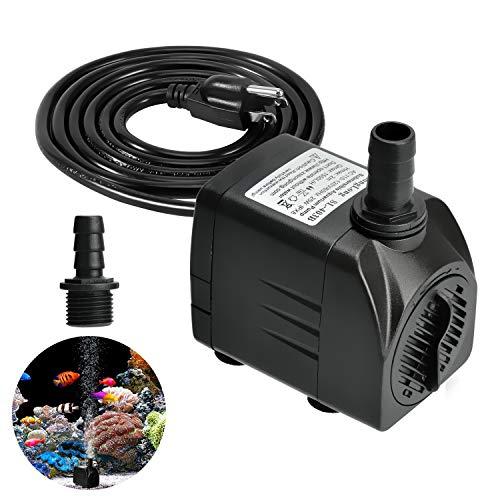 Submersible Water Pump 400GPH, Durable 25W Outdoor Fountain Water Pump with 5.9ft Power Cord and 2 Nozzles Aquarium, Pond, Pools, Fish Tank, Hydroponics, Backyard Waterfall