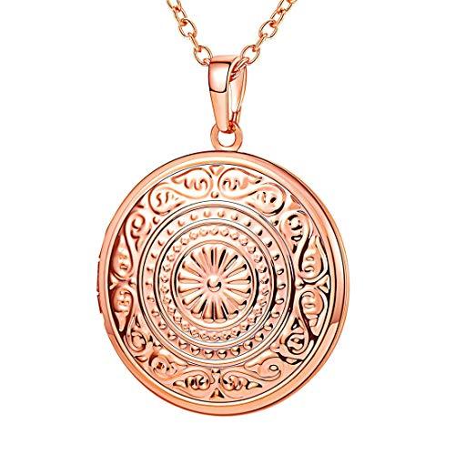 U7 Rose Gold Locket Necklace Vintage Flower Grain Round Pendant That Hold Picture Women Girls