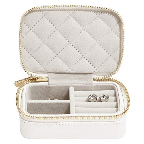 Stackers Orchid White Zipped Leather Travel Jewellery Box