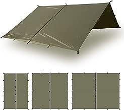 Aqua Quest Defender Tarp - 100% Waterproof Heavy Duty Nylon Bushcraft Survival Shelter - 10x7, 10x10, 13x10, 15x15 Camo or Olive Drab