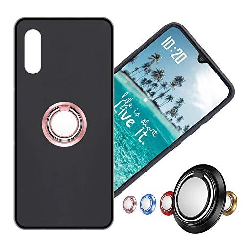 Hülle für Alcatel Flash Plus 2 Schutzhülle Etui Matte Oberfläche Design,Weich Silikonhülle Bumper Hülle Alcatel Flash Plus2 Hülle+360°Handy Ringhalter Phone Fingerhalter MEHRWEG,03 RoséGold