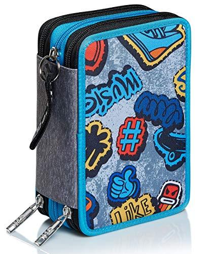Astuccio 3 Scomparti SJ Gang, SJ Ever, Blu, Completo di penne, matite colorate, pennarelli…