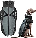 Domkim Thicknen Dog Coats with Zipper for Winter Windproof Waterproof Dog Jackets with Harness for Cold Weather Warm Reflective Dog Vest with Furry Collar for Small Dogs Dachshund Husky Medium