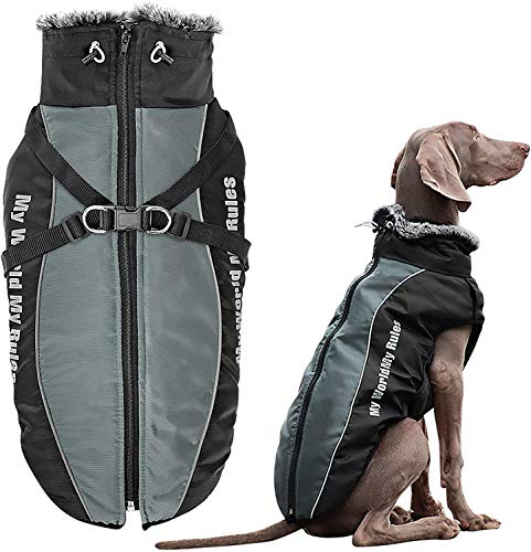 Domkim Dog Coats Zipper with Harness Hole for Snow Outdoor Hunting Hiking Winter Anxiety Big Jackets for Large Dogs Boy for Cold Weather Adjustable Lightweight Comfot Pet Clothes Back Zip