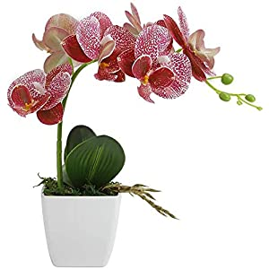 LIVILAN Orchid Artificial Flowers, Realistic Fake Flowers Artificial Plants for Home Office Decoration or Gift