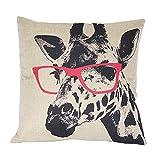 Luxbon Pink Brille Giraffe Kissenbezug Lendenkissen Wurfkissenbezug Pillowcase Cafe Haus Auto Deko...