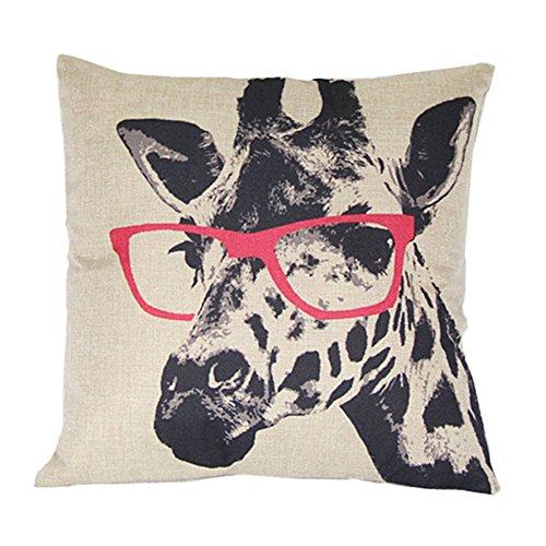 Luxbon Giraffe In Glasses Cushion Covers 18x18 Animal Sofa Throw Pillowcase 45x45cm Cotton Linen Cushion Case Covers for Kid Room Home Decors