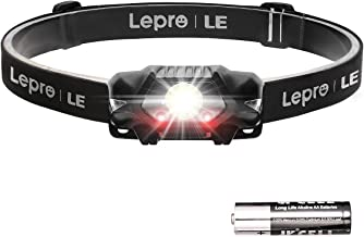 LE Hoofdlamp, LED hoofdlamp met rood licht, IPX4 spatwaterdichte behuizing, koud wit, 4 helderheidsniveaus, perfect voor j...