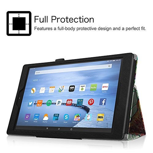 """Fintie Folio Case for Fire HD 10 (Previous Generation - 5th) - Slim Fit Premium Vegan Leather Stand Cover with Auto Wake / Sleep for Amazon Fire HD 10.1"""" Tablet 2015 release, Love Tree"""