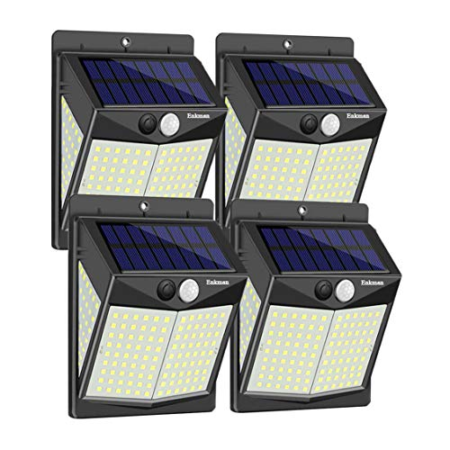 Enkman Solar Lights Outdoor 4 Pack 3 Modes 140 LEDs Wireless Motion Sensor Ooutdoor Lights with Wide Angle IP65 Waterproof for Deck Post Door Wall Yard Garden Patio Yard Deck Garage Fence Pool