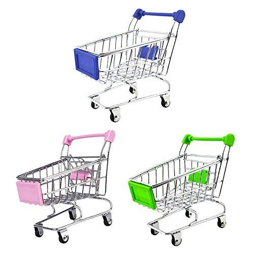 3pcs Set de Miniatura Carro de Compras de Supermercado Pretender Juguetes Divertidos para Niños