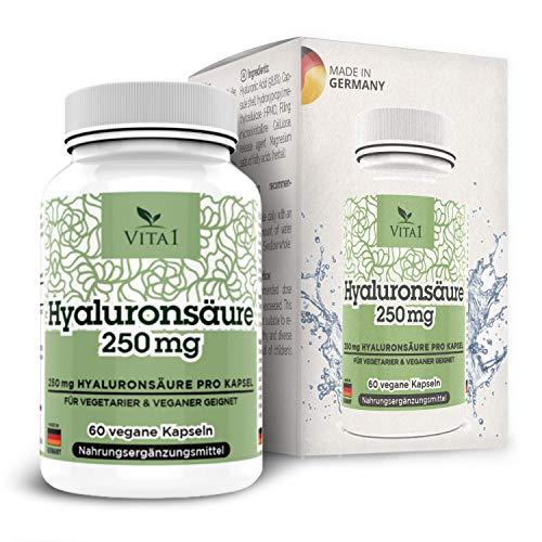 Acide Hyaluronique 250mg • 60 gélules(2 mois d'approvisionnement)• Anti-âges Rajeunissement de la peau Anti-rides - fortement dosé 250mg • 100 g • végétalien • Fabriqué en Allemagne