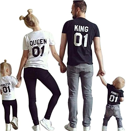 Minetom King Queen 01 Impresión Hombres Mujer Prince Princess Casual Fashion Tops Moda Manga Corta T-Shirt Ropa Familia Camiseta Negro King EU M(Padre)