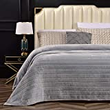 Bertte 330 GSM Lightweight Fluffy Cozy Luxury Decorative Stripe Bed Couch Plush Throw Super Soft Fuzzy Warm Blanket, Queen(90'x 90'), Smoke Grey