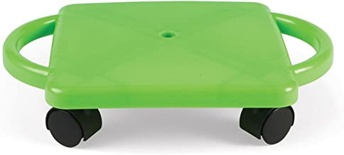 hand2mind Plastic Scooter Board with Safety Handles for Physical Education Class or Home Use, Neon Green