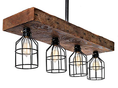 Farmhouse Lighting–Reclaimed Wood from Early-1900s–Rustic Lighting for Kitchen Island Lighting, Dining Room, Bar, Industrial, and Billiard Table-Wooden Light with Edison Cages