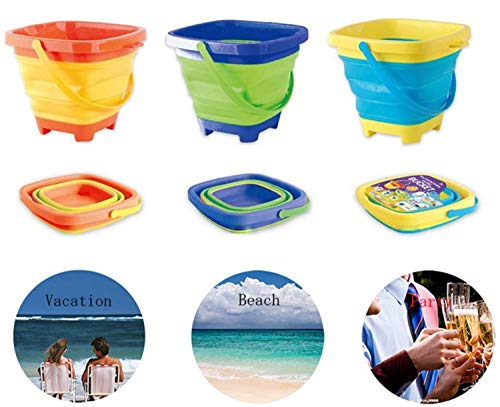 RANLUP 6.7' Inch Beach Pails Sand Buckets and Sand Shovels Set for Kids,Cute Beach Toys,Foldable Bucket Portable Silicone Pail for Kids Beach Play, 2.5L, 3PCS (3 Colors(Yellow/Green/Blue))