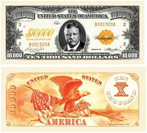 Set of 50 Bills -  10,000.00 Ten Thousand Dollar Gold Certificate Novelty Bill by American Art Classics