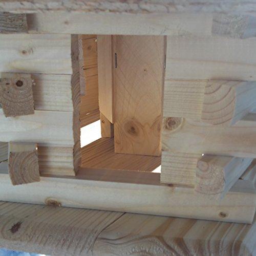 Qualitäts Vogelhaus mit Holzschindeln 6 Eck lasiert Vogelhäuser-Vogelfutterhaus großes Vogelhäuschen-aus Holz Wetterschutz (Natur) - 4